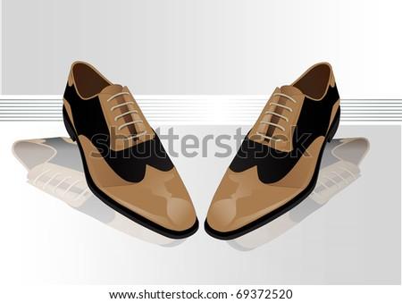 illustration of masculine classic shoes in brown and black color - stock vector