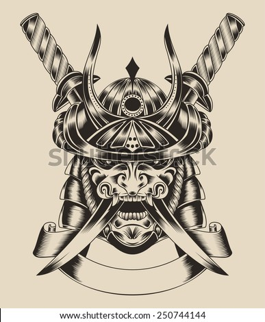 illustration of mask samurai