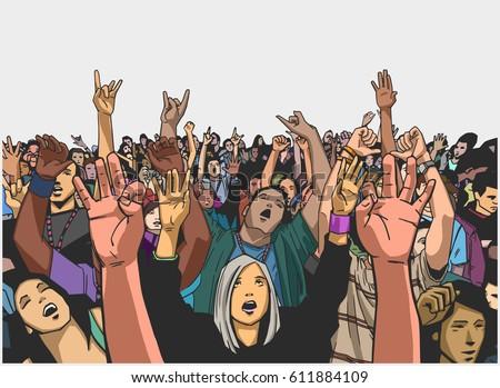illustration of massive crowd