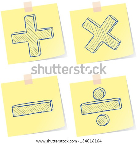 Illustration of mathematics signs sketches on paper notes