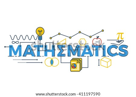 Illustration of MATHEMATICS word in STEM - science, technology, engineering, mathematics education concept typography design with icon ornament elements