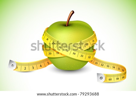 illustration of measuring tape around fresh green apple