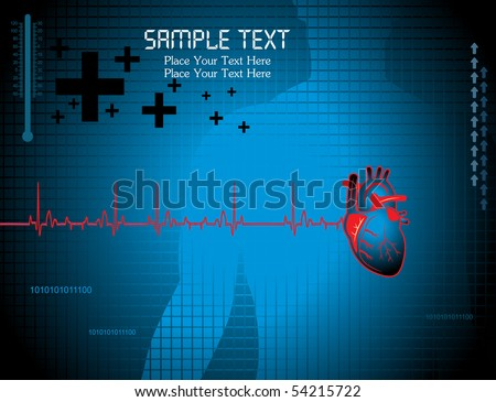 illustration of medical background with human heart, thermometer