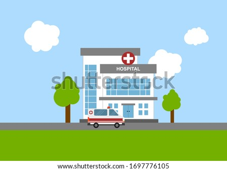 Illustration of medical concept with hospital building and ambulance in flat style. Suitable for infographic resources.