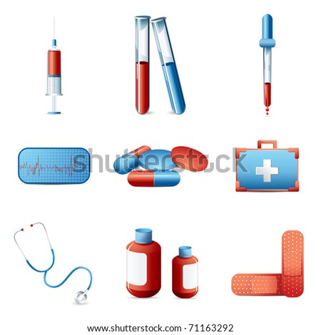illustration of medical icon set with medicines and equipments on isolated background