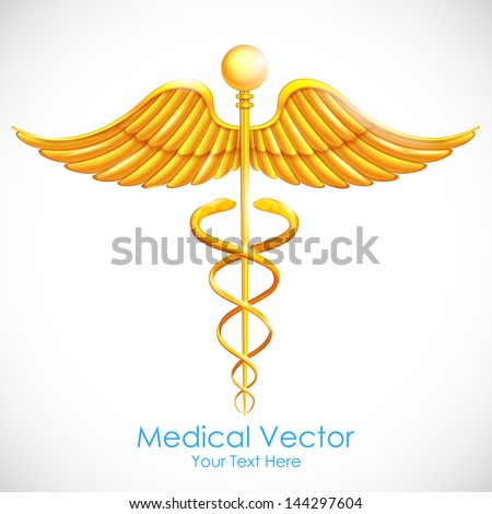 illustration of medical symbol gold caduceus