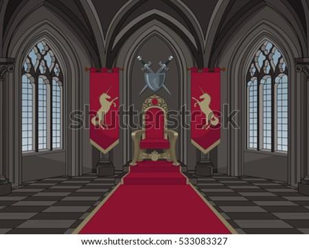 Illustration of medieval castle throne room