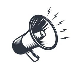 Illustration of megaphone. Monochrome style. isolated on white background.