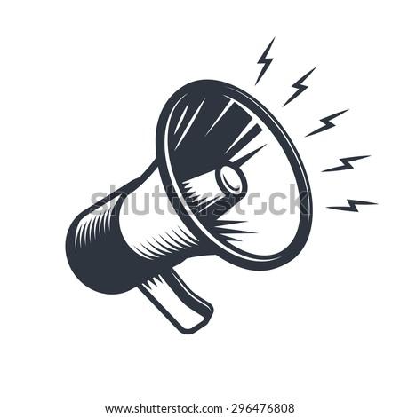 Illustration of megaphone. Monochrome style. isolated on white background. Photo stock ©