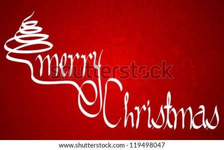 illustration of Merry Christmas background with doodle backdrop