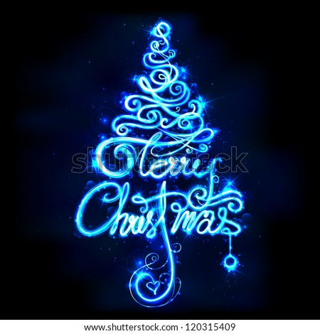 illustration of Merry Christmas in tree shape on abstract background