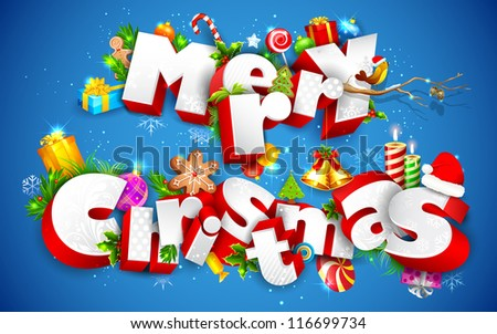 illustration of Merry Christmas text with other element
