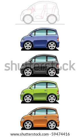 illustration of  microcar (Simple gradients only - no gradient mesh.)
