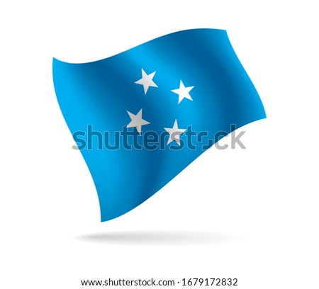 Illustration of Micronesia flag. 3D realistic vector texture of waving flags. isolated white background.
