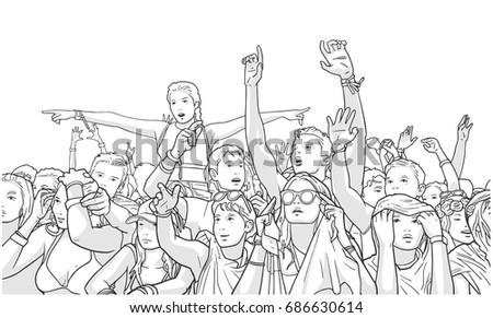 illustration of mixed ethnic...