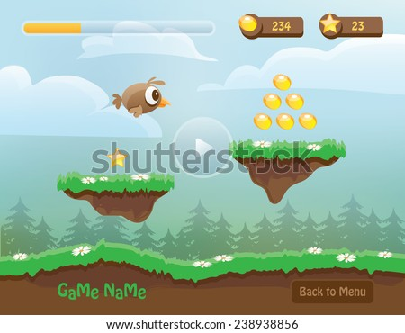 illustration of mobile app game landscape level background, elements, buttons, coins, energy bar and game character- computer games design