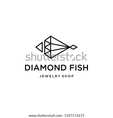 Illustration of modern abstract fish formed from lines forming  like a diamond.