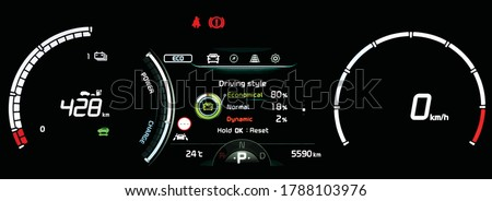 Illustration of modern LCD instrument cluster with driving style display in center. Car dashboard panel with speedometer, odometer and battery range display in full electric vehicle. Driver scoring. Foto d'archivio ©