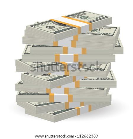 Illustration of money banknotes big stack over white background