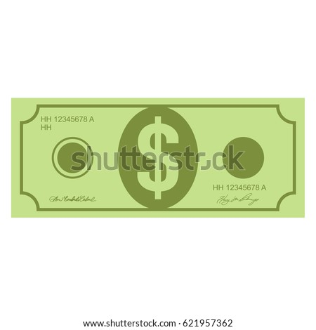 Illustration of money icons. Dollar currency banknote green. Dollars bill, money banknote. Vector dollar bill isolated on white background. Dollar currency banknote green. Flat illustration of money.