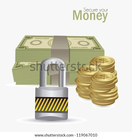 illustration of money icons. Secure your saving illustration, vector illustration