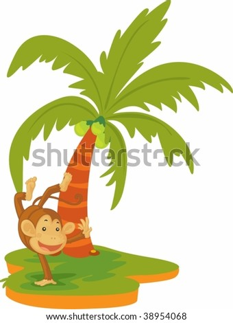 illustration of monkey dancing under the tree