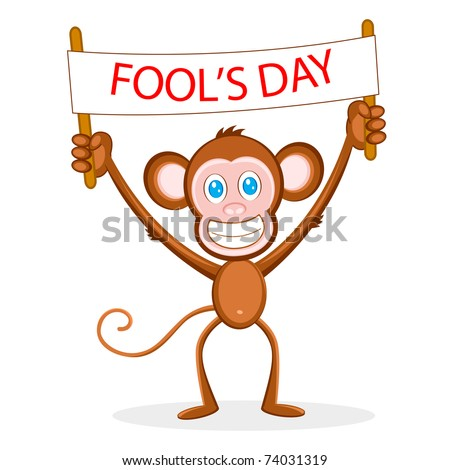 illustration of monkey holding fool's day banner