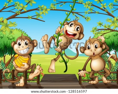 stock-vector-illustration-of-monkeys-at-the-wooden-bridge