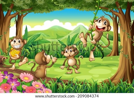 stock-vector-illustration-of-monkeys-playing-in-the-forest