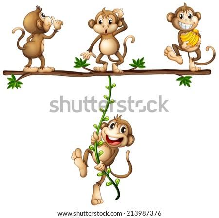 stock-vector-illustration-of-monkeys-swinging-on-a-vine
