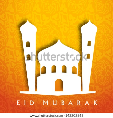 Illustration of mosque on abstract background for Muslim community festival Eid Mubarak