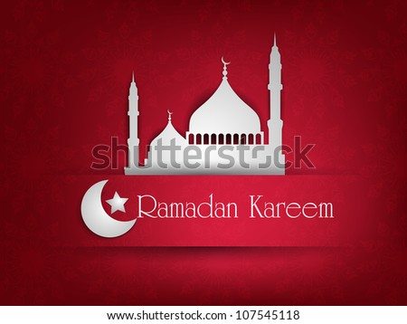Illustration of Mosque or Masjid with text Ramadan Kareem EPS 10.