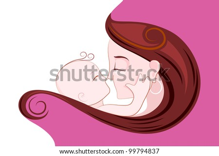 illustration of mother embracing child in Mother's Day Card - stock vector