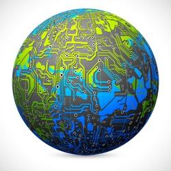 illustration of motherboard circuit of earth on abstract background
