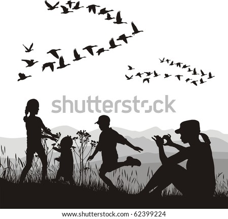 illustration of mothers and children and country trip in autumn
