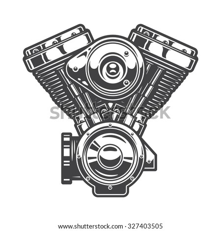 Illustration of motorcycle engine. Monochrome style