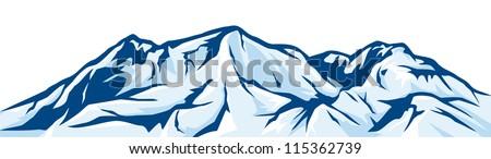 illustration of mountain landscape snowy mountain range