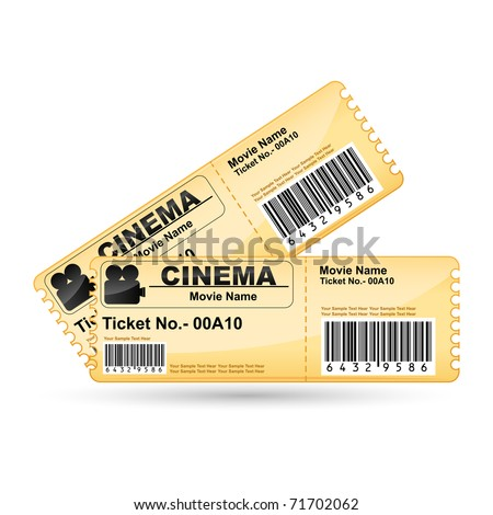 illustration of movie ticket on isolated white background
