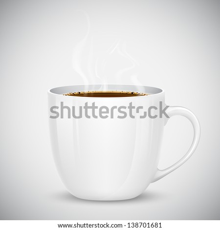 illustration of mug with hot coffee