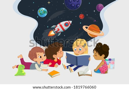 Illustration of multiracial kids sitting on the floor and reading the astronomy book. Imaging space, rockers stars, galaxy, and planets. Reading and exploring concept. Stock photo ©