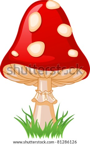 Illustration of Mushroom amanita in a grass