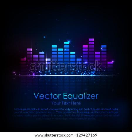 illustration of music equaliser bar in shiny background - stock vector