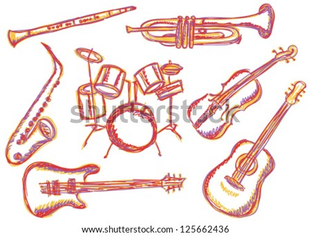 Illustration of music instruments - doodle drawings on white background