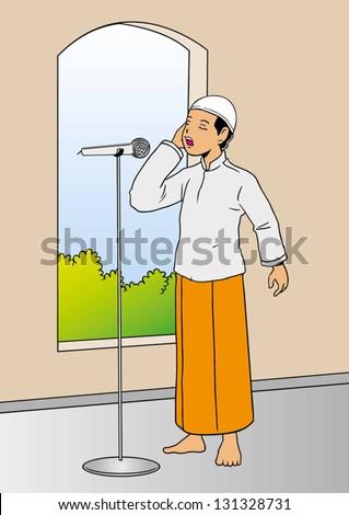 illustration of muslim man