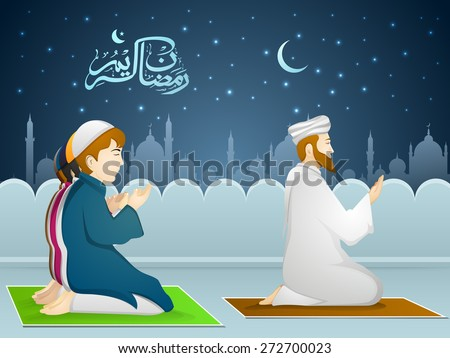 Illustration of muslim people in traditional outfit reading Namaaz, islamic prayer in front of islamic mosque for holy month of prayer, Ramadan Kareem celebration.