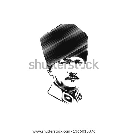 Illustration of Mustafa Kemal Ataturk portrait, vector