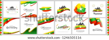 Illustration Of Myanmar National Day Banner Or Poster Design Set With National Flag Color Theme Background.