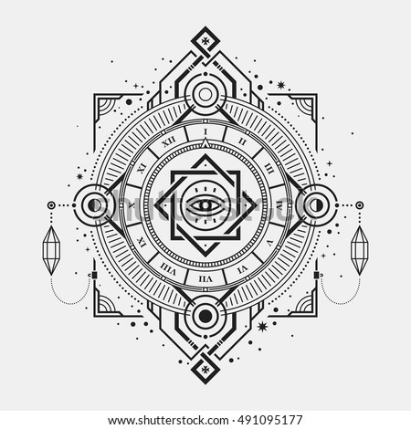 Illustration of mystic golden clock with sacred symbols.