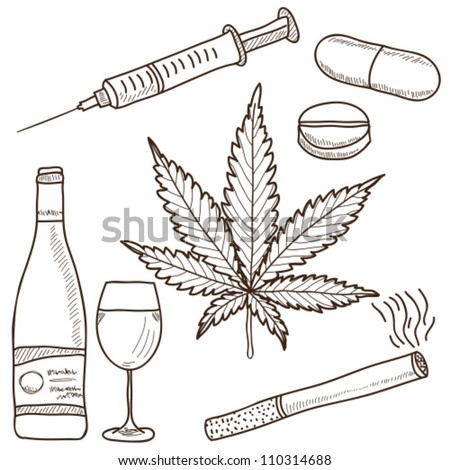 Illustration of narcotics marijuana alcohol nicotine for How to draw a pill