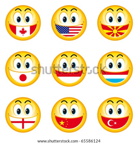 Illustration of nation smileys with a flag instead of teeth